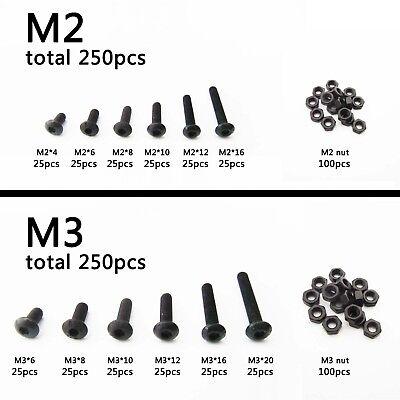250pcs Assortment Kit M3 Flat Countersunk Head Hex Socket Cap Screw Bolt Nut