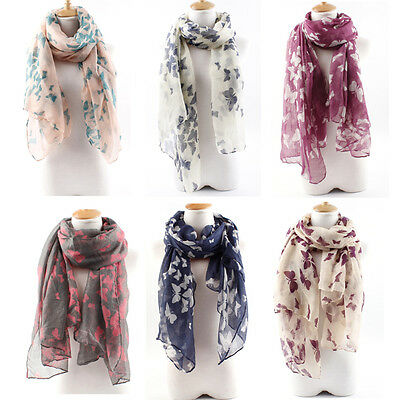 Navy Butterfly Chiffon Print Scarf Silk Women Girls Accessories Cloth Neck Color