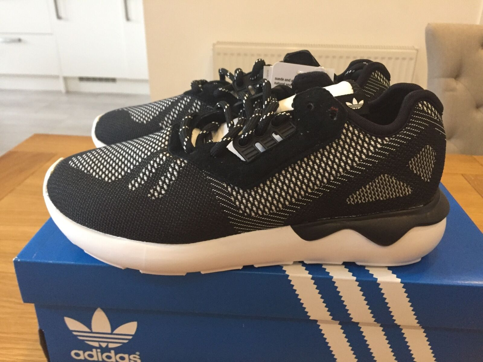 new in box Adidas Tubular Runner Weave in black and white size 6 /3 Casual wild