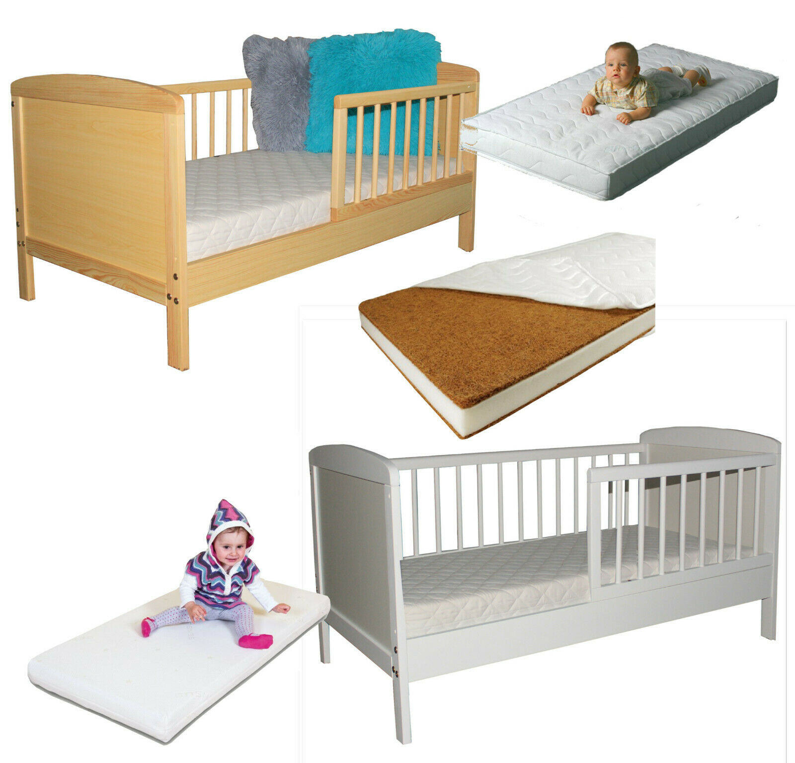 JUNIOR TODDLER BED WITH OPTIONAL MATTRESS COLOURS PINE WHITE