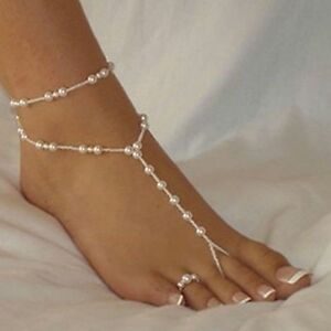 Damen Fußkette mit Perlen Zehenring extra Fußschmuck Strand Gummizug