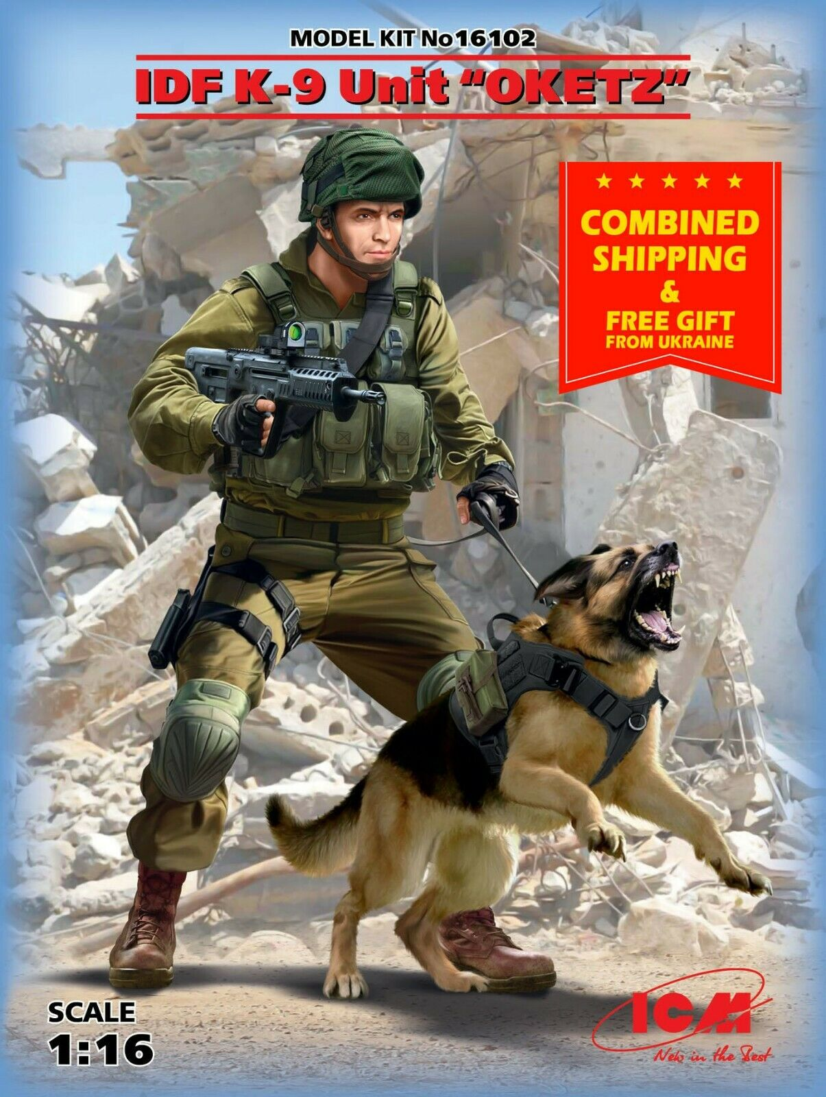 ICM 16102 - IDF K-9 Unitz  OKETZ  and dog 2 figures 1 16 scale model kit 112mm