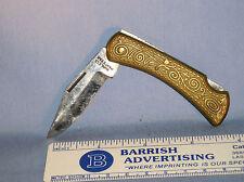 "KI-21 - 2"" blade Lock Blade Knife Pakistan with Designed Brass Handle"