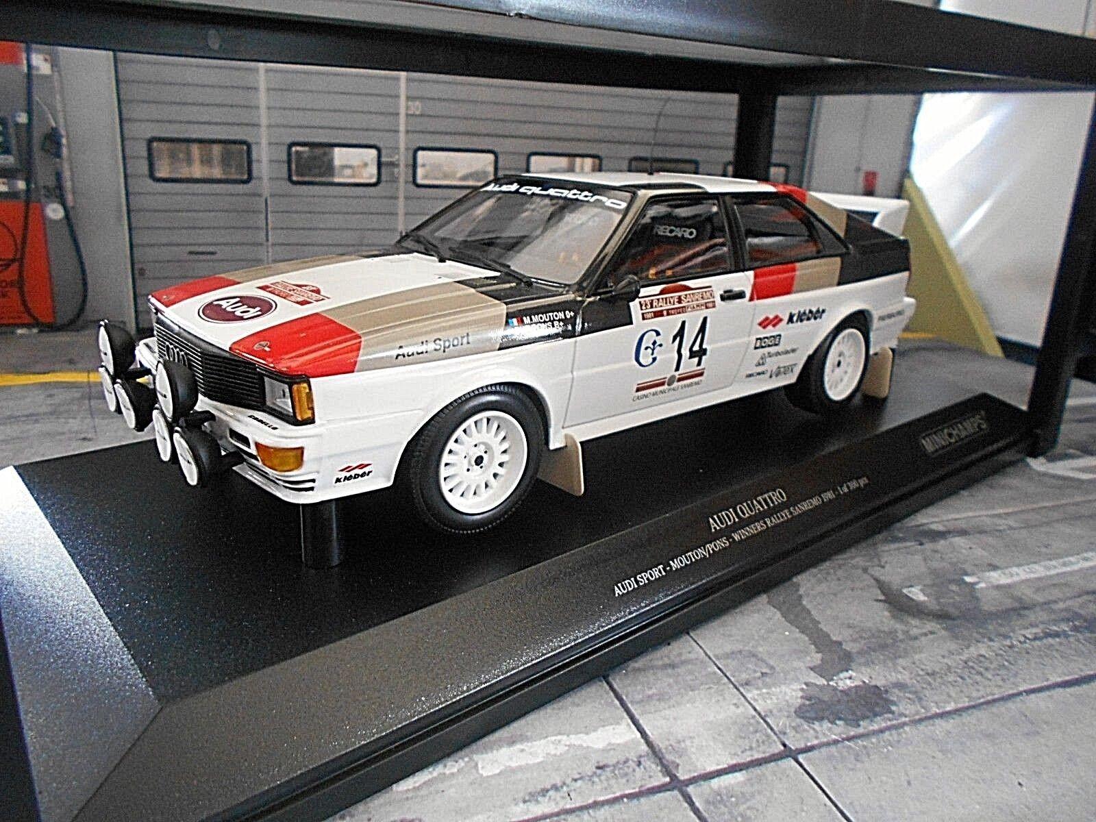 AUDI QUATTRO RALLY mis. 4 San Remo WINNER 1981  14 Mouton NUOVO Minichamps 1:18