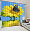Printing Sunflower Butterfly Water Blockout Drape Fabric 3D Window Curtain Mural
