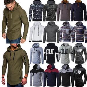 Mens-Muscle-Long-Sleeve-Casual-Tops-Hooded-Hoddies-Slim-Fit-Jumper-Sport-T-Shirt