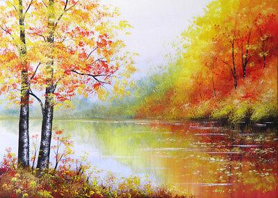 Landscape Watercolour Painting A3 Autumn River Sarah