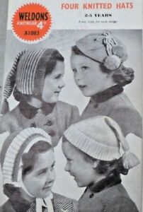 Original 1940s Vintage knitting pattern-4 girls knitted ...