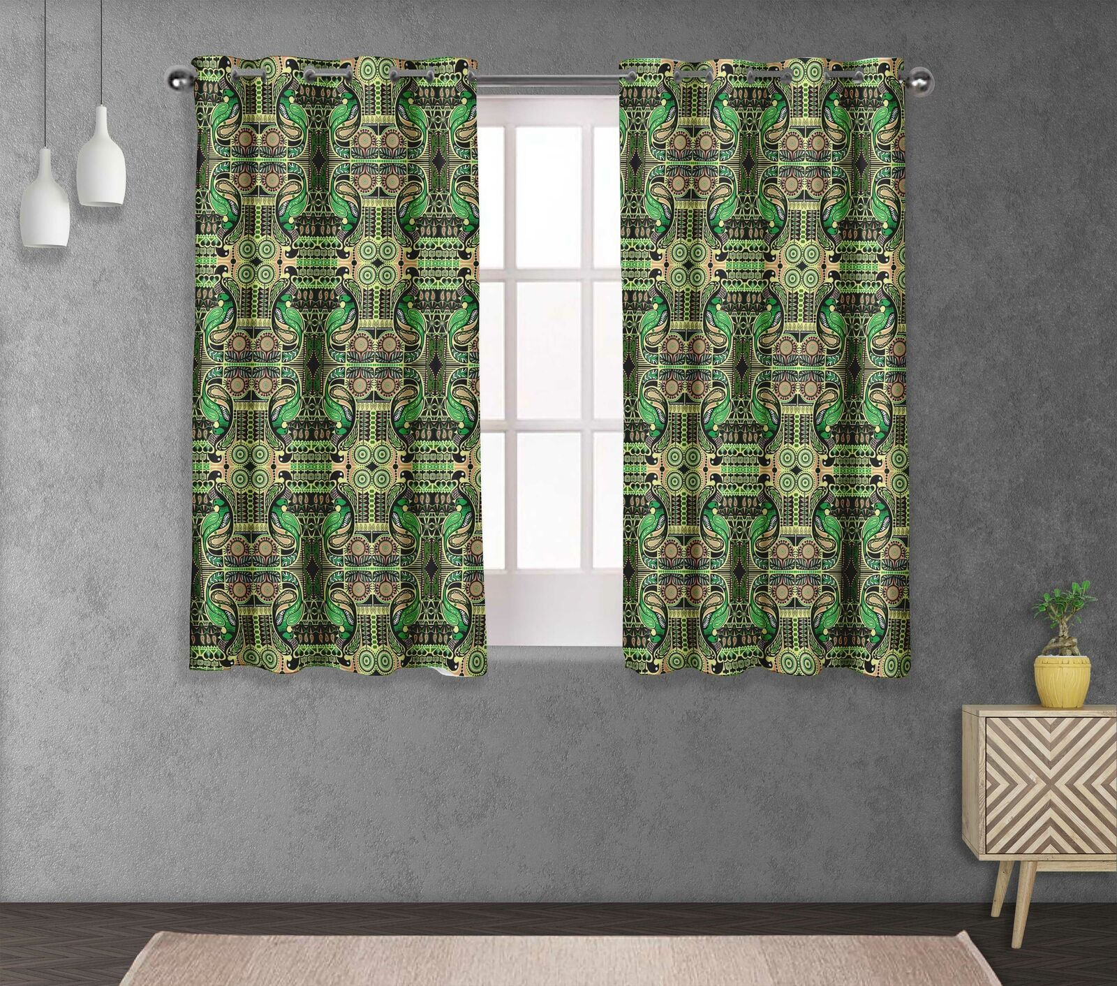 S4sassy Bird & Printed Eyelet short & long Window Panel Curtains -PSL-8B