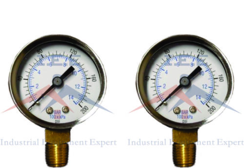 "2 Air Compressor Pressure//Hydraulic Gauge 2/"" Face Side Mount 1//4/"" NPT 0-200 PSI"