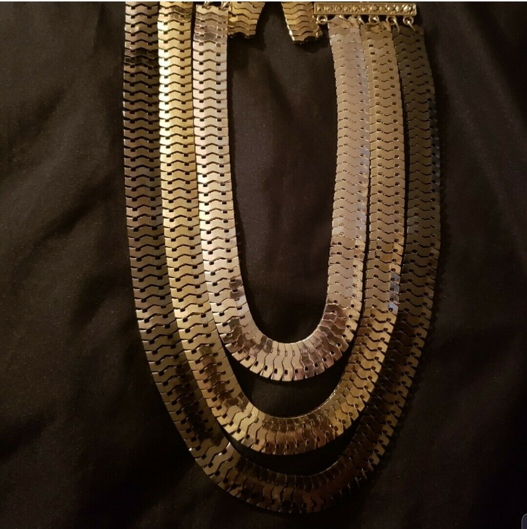 Silver & Gold MultiLayered Necklace Statement Snake Cha