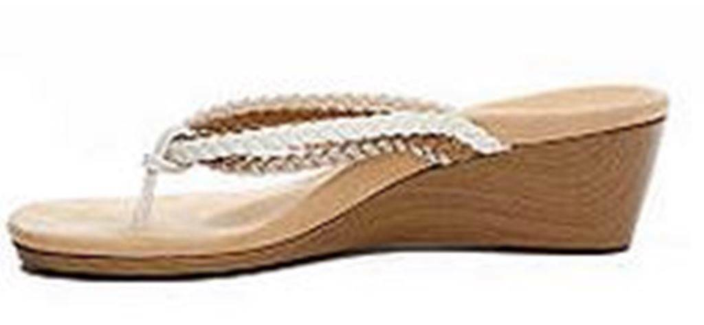 Wouomo scarpe Vionic RAMBA  Wedge Thong Sandal Braided Straps Natural