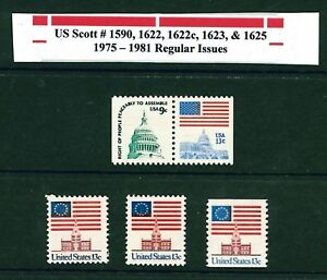 Ee. Uu. Scott# 1590 , 1622 ,1622c, 1623 , & 1625 1975-1981 Regular MNH Edición