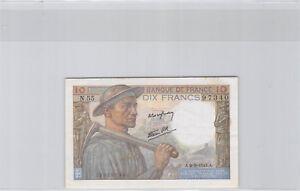 10 Francs Pit Worker 9.9.1943 N.55 N° 136297340 Pick 99d