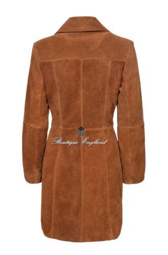 In pelle scamosciata lunga Cappotto TanClassico Confortevole morbida vera pelle slim fit 3457