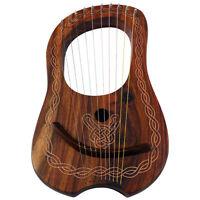 New Lyre Harp 10 Metal Strings Rosewood/Lyra Harp Rosewood 10 Strings Free Case
