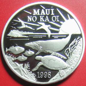 1998-HAWAII-MAUI-1-TRADE-DOLLAR-1oz-SILVER-PROOF-TURTLE-WHALE-FISH-SUN-BOX-COA