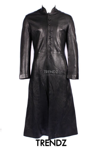 MEN/'s Revolution BLACK MATRIX Hollywood Lungo Lambskin piena lunghezza leather coat