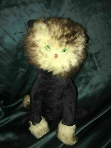 ANTIQUE-CAT-PLUSH-TOY-REAL-FUR-GLASS-EYES