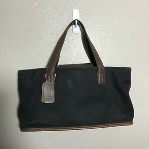 0265da9977 Image is loading Coach-Black-Canvas-Twill-Hand-Bag-6137-Leather-