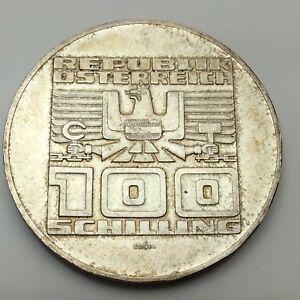 1975-Austria-Commemorative-100-Schilling-720-Silver-Circulated-Coin-C732