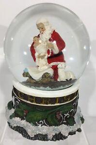 Christmas-Kneeling-Santa-Snow-Globe-Musical-Plays-034-Silent-Night-034-Roman-Inc