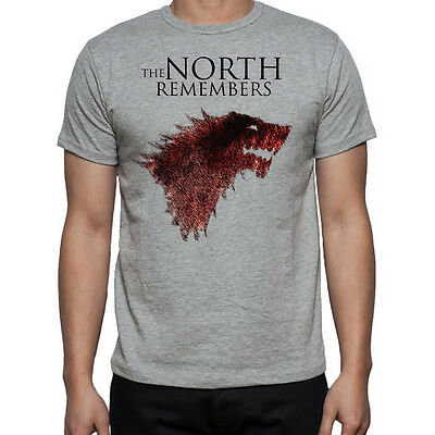 Game Of Thrones Direwolf  Wolf The North Remembers Stark Logo GOT Mens T-Shirt