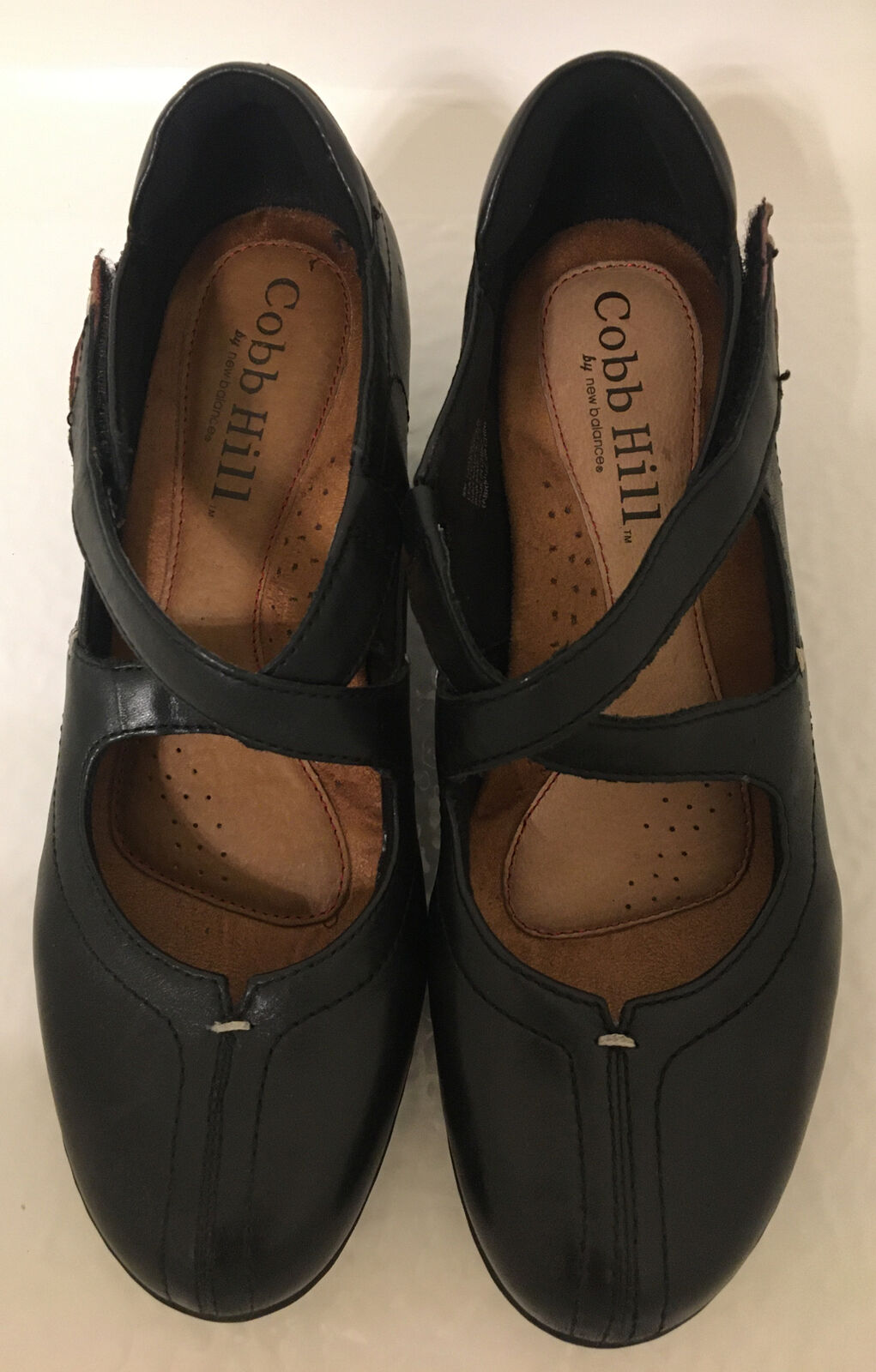 Cobb Hill Avery Ankle Bootie Womens 8 M Cap Toe Leather Black Cross Straps