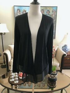 Details about NWOT Nic+Zoe Black Open Front Cardigan Sweater Sheer Hem Size L Silk Rayon