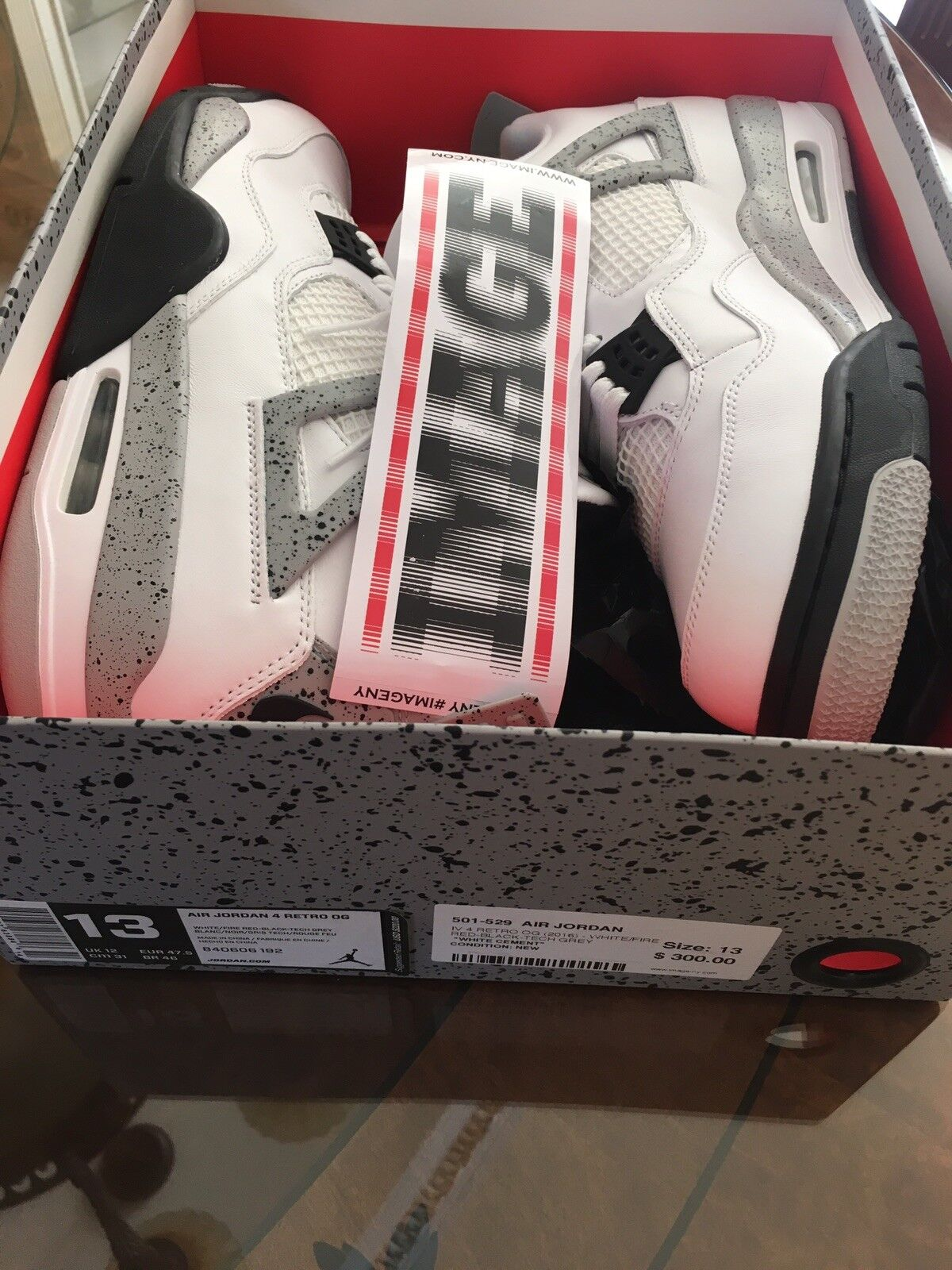 2016 2016 2016 Nike Air Jordan 4 Retro OG White Cement Sz 13  White Cement  65c885
