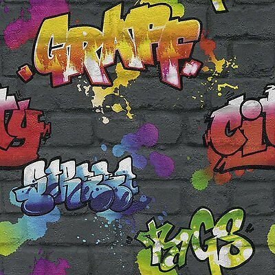 BLACK GRAFFITI BRICK WALL EFFECT FEATURE TEENAGE KIDS WALLPAPER 237801  RASCH