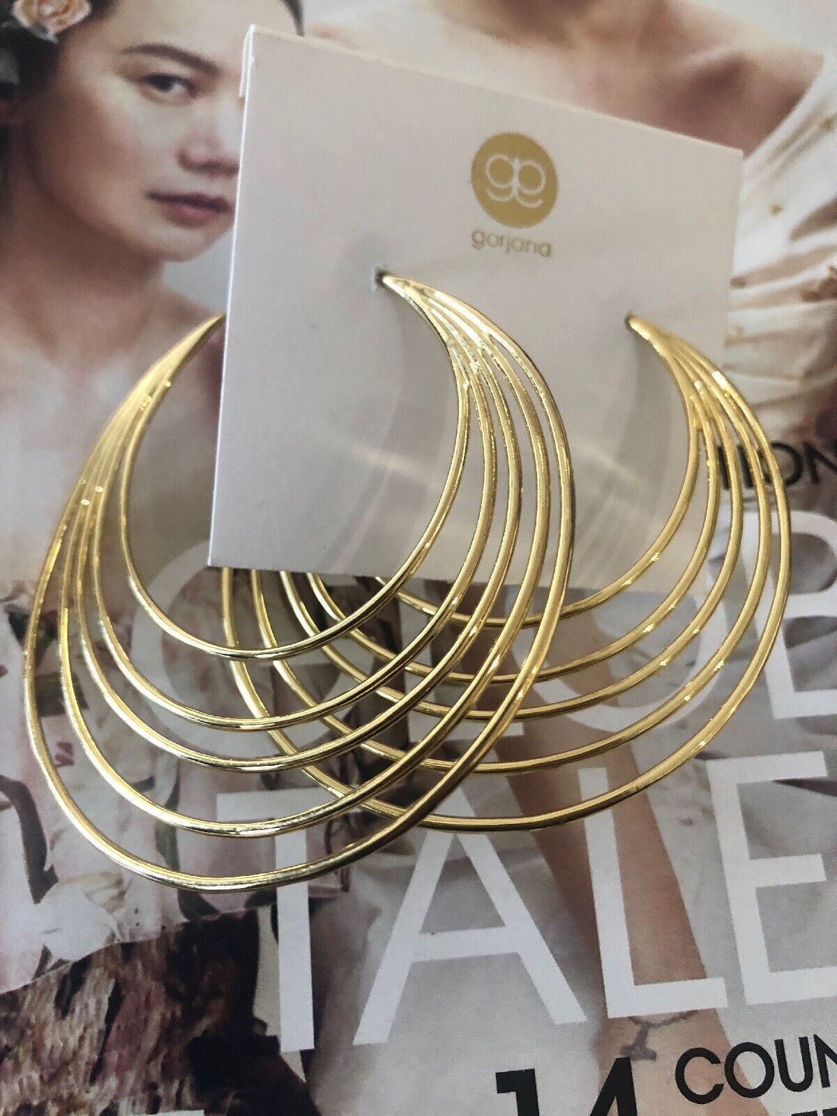 "Gorjana Large 18 K Plated HOOP Earrings 2.75"". New RET 79.00 Plus"