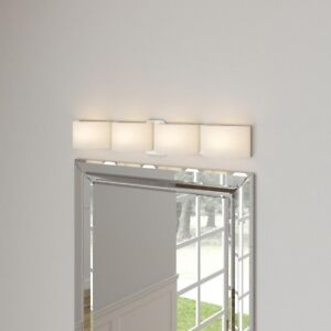 newest 455c4 e9c3a Details about 4-Light Satin Nickel Bath Bar Light Batroom Vanity Lighting  Frosted Glass Shade