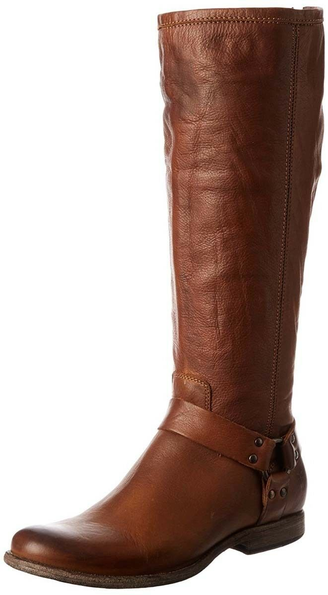 Frye Womens Phillip Harness Cognac Brown Soft Leather Tall Riding Boots 5.5