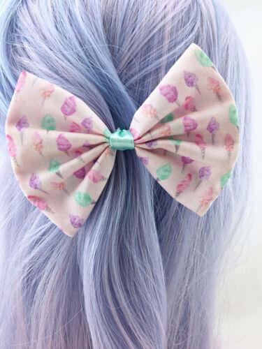 Pink with Pastel Fairy Floss Print Medium Fabric Hair Bow Kawaii Hair Clip
