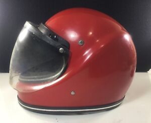 VINTAGE-JAVALIN-FULL-FACE-RED-MOTORCYCLE-HELMET-HYDRON-BUBBLE-RETRACTABLE-SHIELD