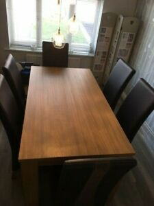 Dining Room Table 6 X Leather Chairs Matching Nest Of Tables 1500 New Ebay