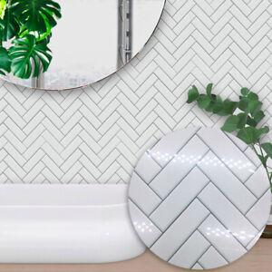 10pcs White Bricks Adhesive Gloss Bathoom Kitchen Wall Stair Floor Tile Sticker Ebay