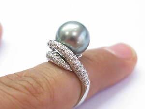 18Kt-Black-Pearl-amp-Diamante-Oro-Bianco-Gioielli-Anello-12-3mm-75Ct