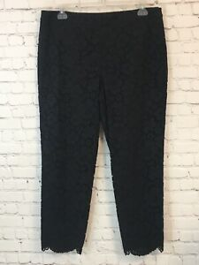 Talbots Womens Capri Pants Size 16 Black Lace Overlay Cropped Side Zip Closure