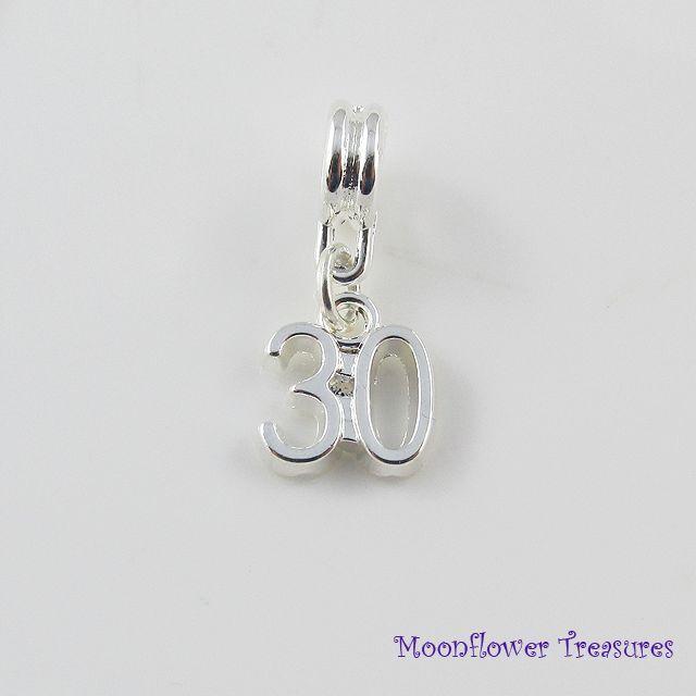 Silver Plate Birthday Milestone Age Number Charm fit European Bracelet