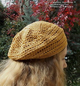 BERET-CHAPEAU-CROCHET-MAIN-ARTISANAT-FRANCAIS-LUREX-OR-CREATION-S-RAISONNIER