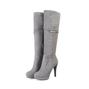 Women-Stiletto-Heels-Knee-High-Boots-Platform-Metal-Decor-Side-Zip-Casual-Shoes