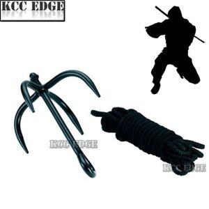 SHINOBI Steel NINJA SWAT Grappling Tree Rock Outdoor Climbing Hook w// Nylon Rope