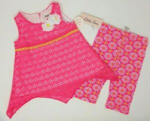 NEW-Little-Lass-Girls-Sz-18M-Pink-2-PC-Neon-Assymetrical-Eyelet-Capri-Set-NWT