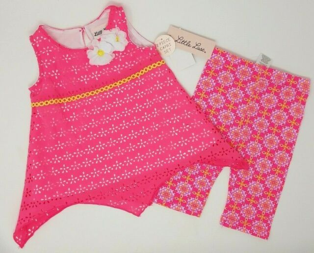 NEW Little Lass Girls Sz: 18M Pink 2-PC Neon Assymetrical Eyelet Capri Set NWT