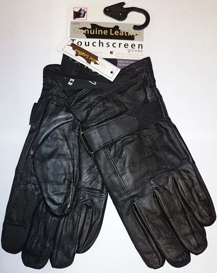New Mens Black Leather Touch Screen Long Strap Thermal Insulated Fleece Gloves