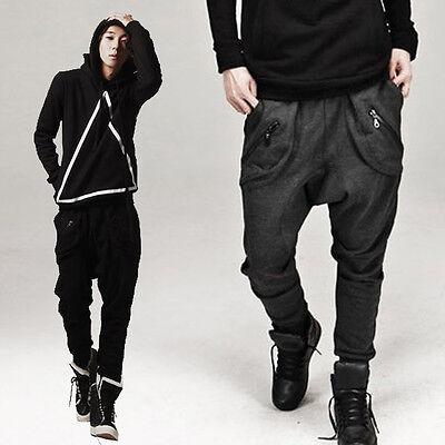 Mens Casual Hip-hop Jogger Sportwear Baggy Harem Loose Pants Trousers Coffee NEW
