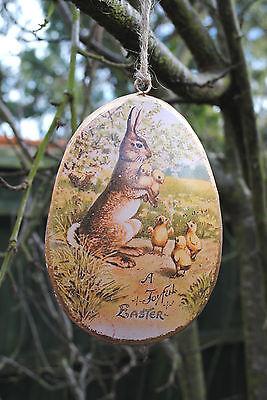 Vintage style Easter EGG shaped decoration, hanging, metal, rabbit, chicks