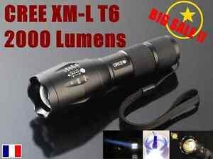 Ultrafire Lampe Torche 2000 Lumens LED CREE XM-L T6 étanche 5 Modes + Zoom 18650